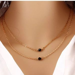 Black beads double layer necklace